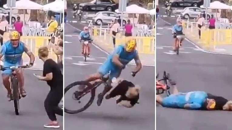 Брутален судар: Девојка сакаше да претрча пред целната линија кога се појави велосипедист